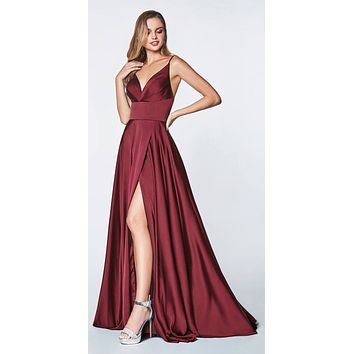 c806e40d9b2 Floor Length Spaghetti Strap Burgundy Prom Dress V Neck