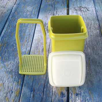 Vintage Tupperware Pickle Keeper Olive Green Pick-A-Deli Storage Container