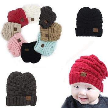 Cute Baby Beanie Boy Girl Toddler CC Labeling Knitted Hats Crochet Hat New Cute Winter Beanie Cap Casual Cotton Caps Christmas Gift