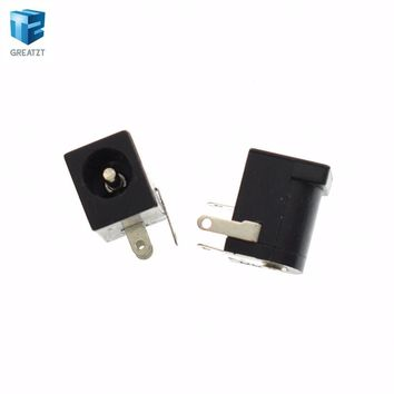 10PCS/LOT High Quality DC Jack DC-005 2.0 DC005 Power Socket, 5.5mm 2.1mm Flat Head Power Female Plug 5.5x2.1MM, Supply Jack