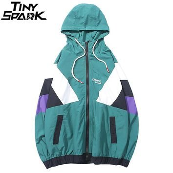 Harajuku Track Jacket Windbreaker Men Hip Hop Streetwear Hooded Jacket Color Block Autumn 2018 Casual Hoodie Jacket Coat Hipster