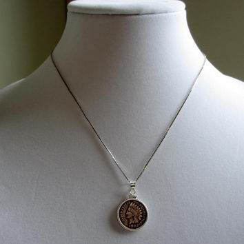 Authentic 1902 Indian Head Wheat Penny Coin Necklace Pendant Sterling Silver Coin Holder Vintage Necklace 18 inch Sterling Silver Box Chain