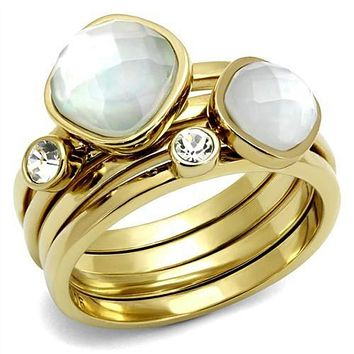 WildKlass Stainless Steel Ring IP Gold(Ion Plating) Women Synthetic White
