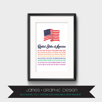United States Of America Wall Art, American Flag, Song Lyrics, Rainbow, Love Wins, Instant Digital Download, 8x10
