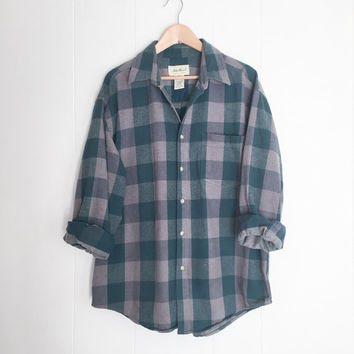 Vintage Flannel Shirt, Oversized Flannel, Boyfriend Flannel. Plaid Shirt. Grunge Flannel. Womens Flannel Shirt.Cotton Flannel. Large. Boho