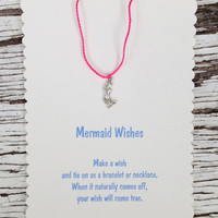 Mermaid Favors - Wish Bracelet or Necklace with mermaid charm