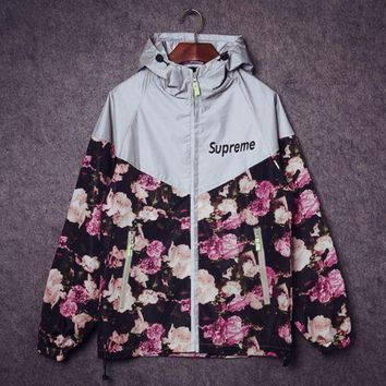 Supreme Fashion Trending Print Zipper Long Sleeve Cardigan Jacket Coat Windbreaker G