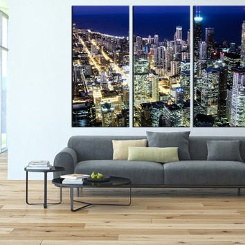 Chicago canvas wall art, Chicago Skyline wall art, Chicago Canvas print, Chicago Night Canvas Print, large wall art Ready to Hanging  t140