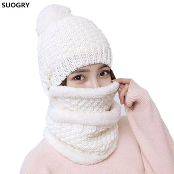 2017 Winter Beanie outdoors Women Fashion Solid Fur Wool Lining Thick Warm Knit cashmere Hat Cap Scarf Sets Skullies Bonnet