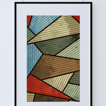 Mid Century Modern Print Abstract Art Print Poster Giclee on Cotton Canvas and Paper Canvas Wall Decor