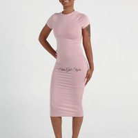 Danielle Blush Pink BodyCon Midi T-Shirt Dress