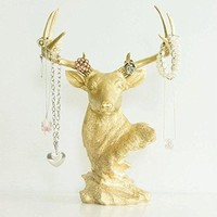 Deer Tabletop Jewelry Rack | Faux Taxidermy| Gold Resin