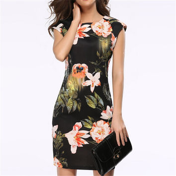 Arrivals Women Vintage Vestidos Dress Sleeveless Summer Floral Pencil Dresses Evening Party Elegant Design Flowers Clothes S154