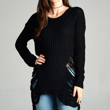 Frayed Detail Knit Sweater