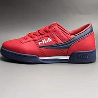 FILA Original Fitness new sneakers leather two-layer wear non-slip outsole casual sports shoes F-CSXY Red