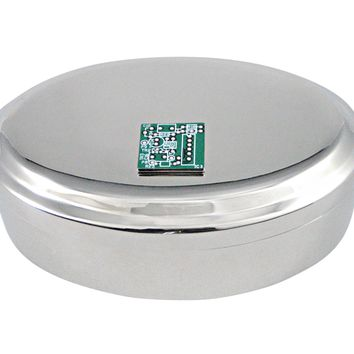 Detailed Computer Circuit Design Pendant Oval Trinket Jewelry Box