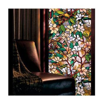 new fashion Static Cling Cover Stained Flower Window Film Glass Sticker Privacy Home Decor 45*100cm
