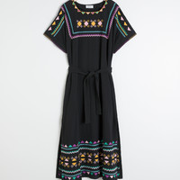 Embroidered Belted Kaftan Dress - Black - Maxi dresses - & Other Stories GB