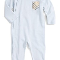 Burberry 'Jaydin' Check Trim Cotton Footie (Baby Boys) | Nordstrom