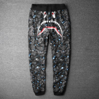 BAPE SHARK Fashion Luminous Camouflage Pants Sport Trousers Harlan Pants Sweethearts Outfit