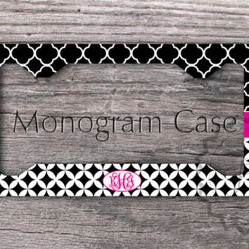 cute license plate frame black quatrefoil pattern black diamonds and circles pattern with magenta