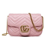 Gucci Fashion Women Shopping Bag Leather Shoulder Bag Crossbody Satchel Pink I12102-1
