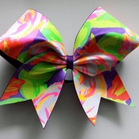 Neon colored flower cheer bow