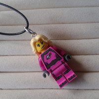 Intergalactic Girl necklace made with LEGO® series 6 minifigure