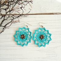 Handmade Blue Crochet Earings
