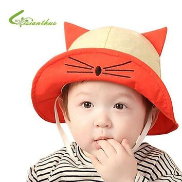 LMF78W New Arrival Baby Sun Hat Cat Cap Child Photography Prop Spring Summer Outdoor Wide Brim Kids Baby Girl Boy Hat Beach Bucket Hat