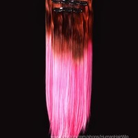 18'' 12pcs Synthetic Ombre Dip Dyed Hippie Hair Human Extension Clip in 27colors WGY68 Coffee Brown / Pink