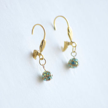 Earrings Gold Sphere Lever back Earrings with green and blue Rhinestones - Green Earrings - Gold Earrings - Disco Ball Earrings - Small Earr
