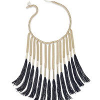 Thalia Sodi Gold-Tone Chain Black Fringe Necklace