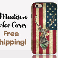 Camo Deer American Flag Phone Case