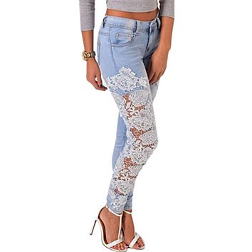 Plus Size Skinny Denim Pants Women Jeans with Lace Jeans Waist Jegging Woman High Patchwork Lady Slim Ripped Boyfriend Jeans