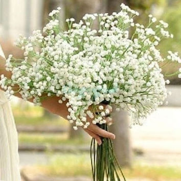 6PCS Atificial Babys Breath Gypsophila Beauty Home White Silk Flowers Wedding Party Decor DIY = 1651244036