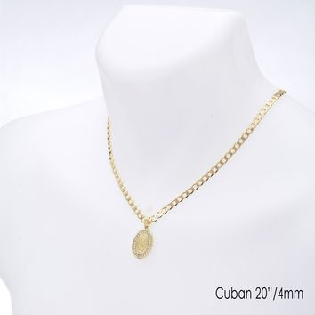 """Jewelry Kay style Oval Virgin Mary Guadalupe Pendant 20"""" / 22"""" Cuban Chain Necklace Set CP 226 G"""