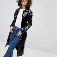 Mango Vinyl Mac Jacket at asos.com