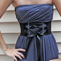 Venni Caprice Solid Black Corset Wide Belt by VenniCaprice on Etsy