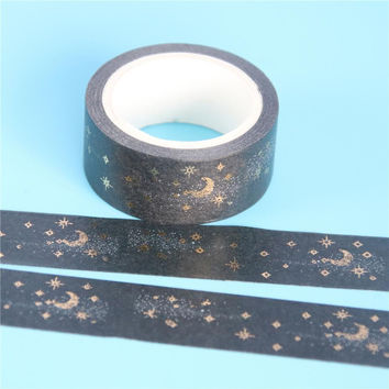 1 Pc / Pack Black Moon Stars Washi Paper Masking Tapes 1.5cm X 5m Diy Scrapbooking Heart Stickers Gift Wrapping Sticker