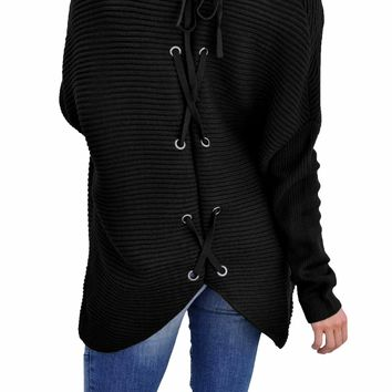 Black Ribbed Knit Lace Up Back Sweater Cardigan