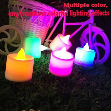 VONC1Y 1PCS Led Flameless Color Changing Flickering Tealight Candles Battery Operated for Wedding Birthday Party Christmas Home
