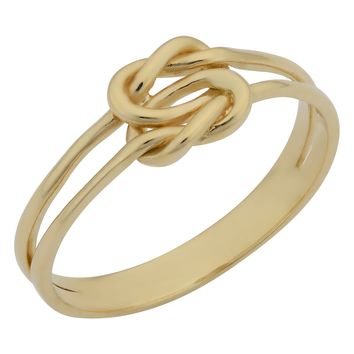 14k Yellow Gold Double Band Love Knot Ring, Size 6