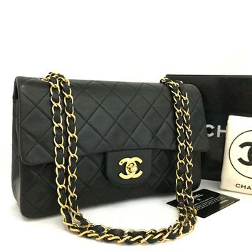 CHANEL Double Flap 23 Quilted CC Logo Lambskin w/Chain Shoulder Bag Black/pIX x