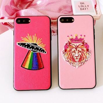 Fashion Animal embroider Sliver Mirror Case For iPhone 7 7Plus 6 6s 6Plus 6s Plus