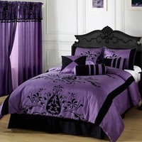 VIOLETA 7pc Comforter Set Purple, Black Floral Flocking Full, Queen, King, CK