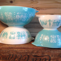 Pyrex Butterprint Turquoise Teal Aqua Amish Nesting Cinderella Bowl Set # 441 442 443 444 Wedding Gift Wedding Registry