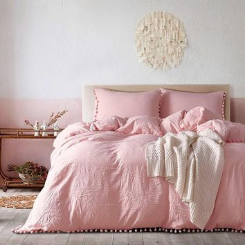 Cool 2/3pc Pink Bedding Sets with Small Ball Microfiber Fabric Twin Double Queen King Duvet Cover Pillowcase Comfortable Home TextileAT_93_12