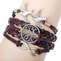 JY Jewelry fashion Antique handmade Infinity birds leaf Leather Cute Charm friendship bracelets best friend bracelets QR7