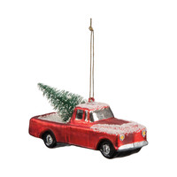 Red Truck Glass Ornament